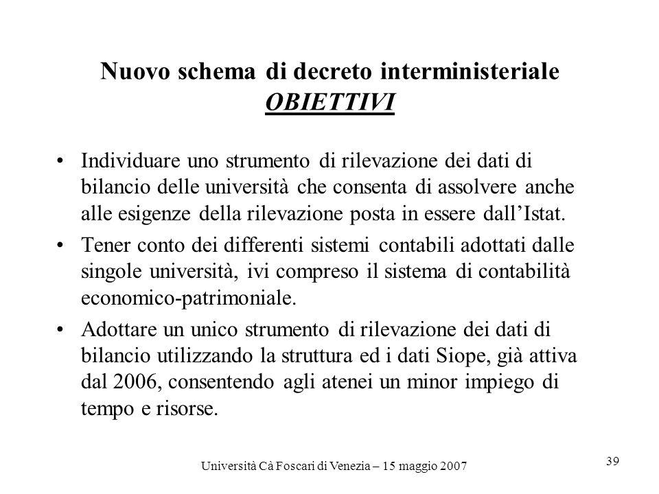 Università Cà Foscari di Venezia – 15 maggio 2007 39 Nuovo schema di decreto interministeriale OBIETTIVI Individuare uno strumento di rilevazione dei dati di bilancio delle università che consenta di assolvere anche alle esigenze della rilevazione posta in essere dallIstat.