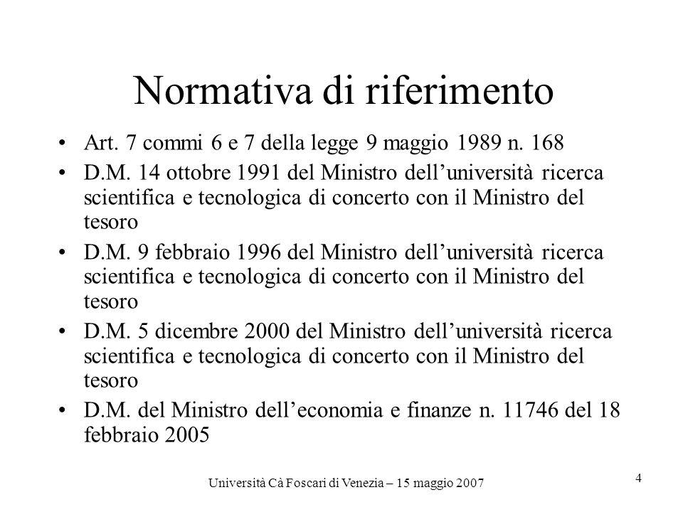 Università Cà Foscari di Venezia – 15 maggio 2007 4 Normativa di riferimento Art.