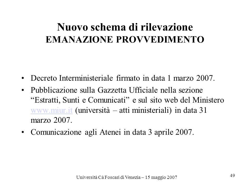 Università Cà Foscari di Venezia – 15 maggio 2007 49 Nuovo schema di rilevazione EMANAZIONE PROVVEDIMENTO Decreto Interministeriale firmato in data 1 marzo 2007.