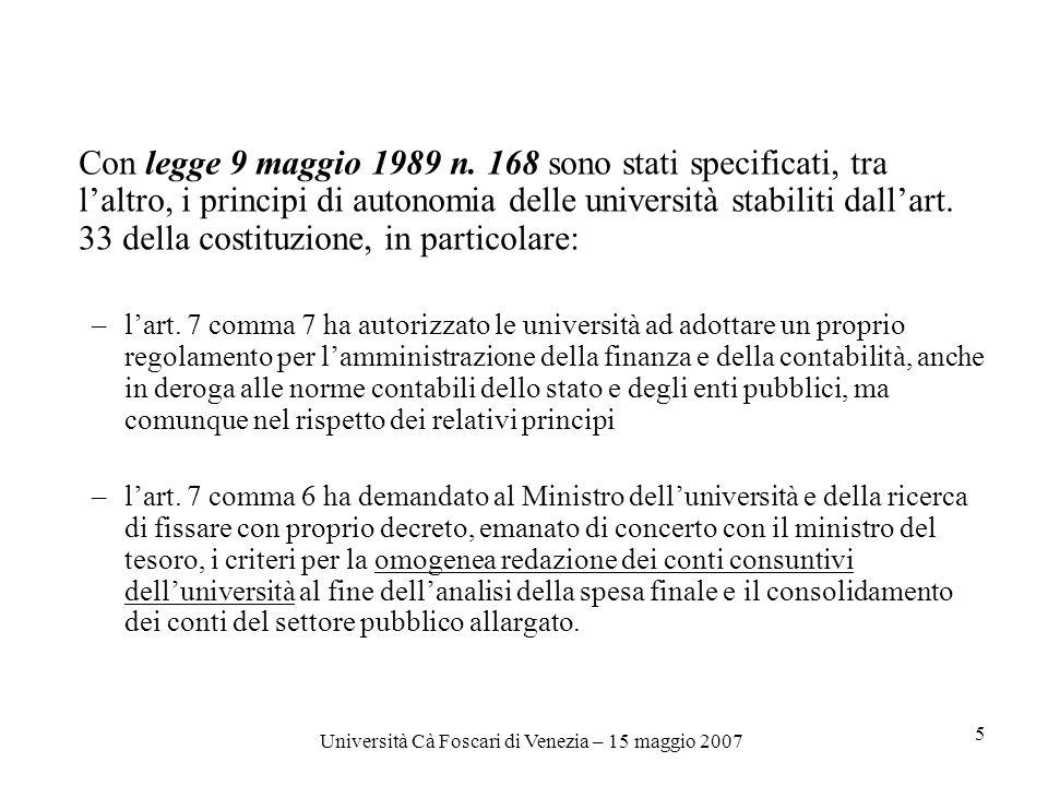 Università Cà Foscari di Venezia – 15 maggio 2007 5 Con legge 9 maggio 1989 n.