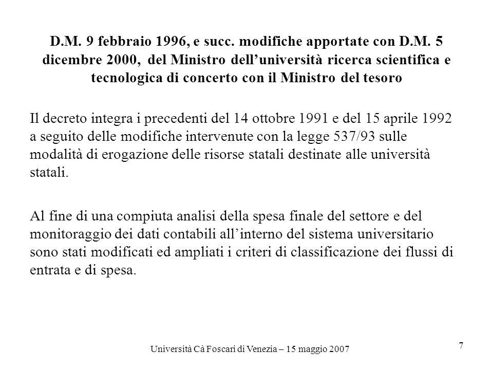 Università Cà Foscari di Venezia – 15 maggio 2007 7 D.M.