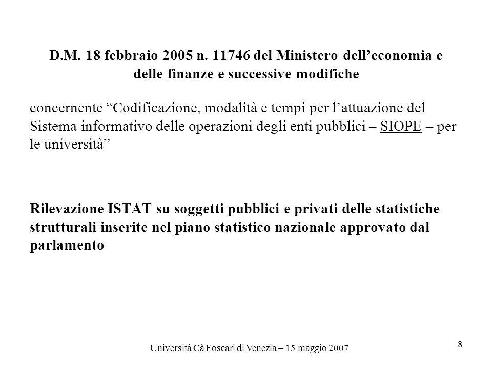 Università Cà Foscari di Venezia – 15 maggio 2007 8 D.M.