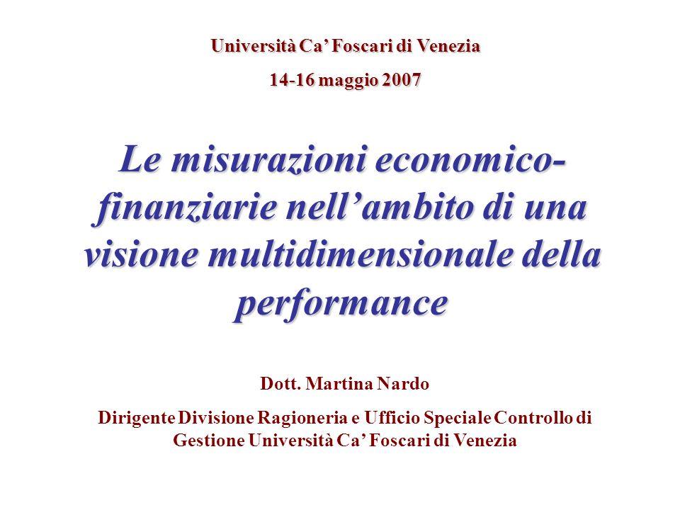 Le misurazioni economico- finanziarie nellambito di una visione multidimensionale della performance Università Ca Foscari di Venezia 14-16 maggio 2007 Dott.