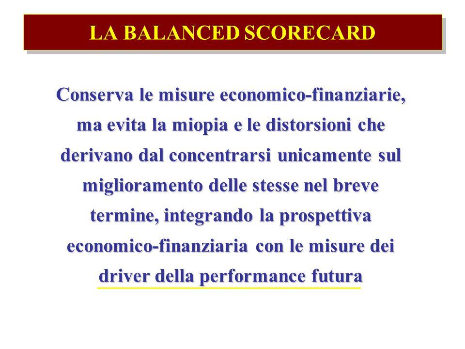 LA BALANCED SCORECARD Conserva le misure economico-finanziarie, ma evita la miopia e le distorsioni che derivano dal concentrarsi unicamente sul miglioramento delle stesse nel breve termine, integrando la prospettiva economico-finanziaria con le misure dei driver della performance futura