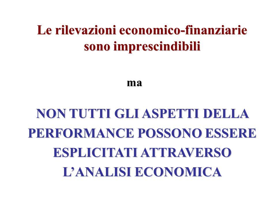 Le rilevazioni economico-finanziarie sono imprescindibili ma NON TUTTI GLI ASPETTI DELLA PERFORMANCE POSSONO ESSERE ESPLICITATI ATTRAVERSO LANALISI ECONOMICA