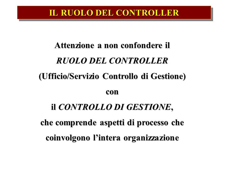 IL RUOLO DEL CONTROLLER Attenzione a non confondere il RUOLO DEL CONTROLLER (Ufficio/Servizio Controllo di Gestione) con il CONTROLLO DI GESTIONE, che