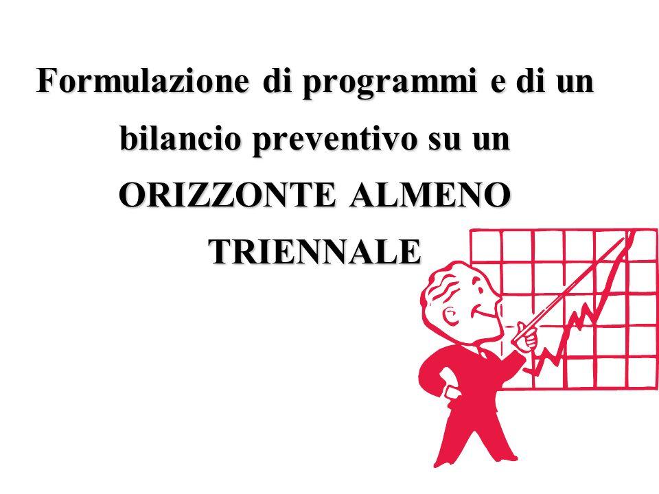 Formulazione di programmi e di un bilancio preventivo su un ORIZZONTE ALMENO TRIENNALE