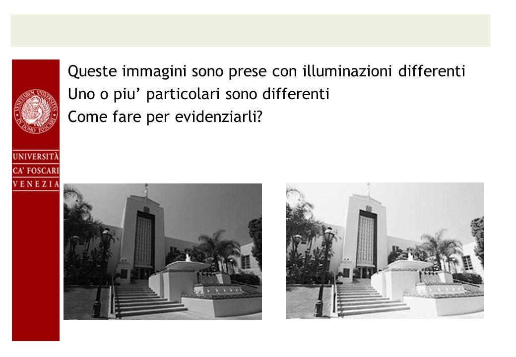 Queste immagini sono prese con illuminazioni differenti Uno o piu particolari sono differenti Come fare per evidenziarli?