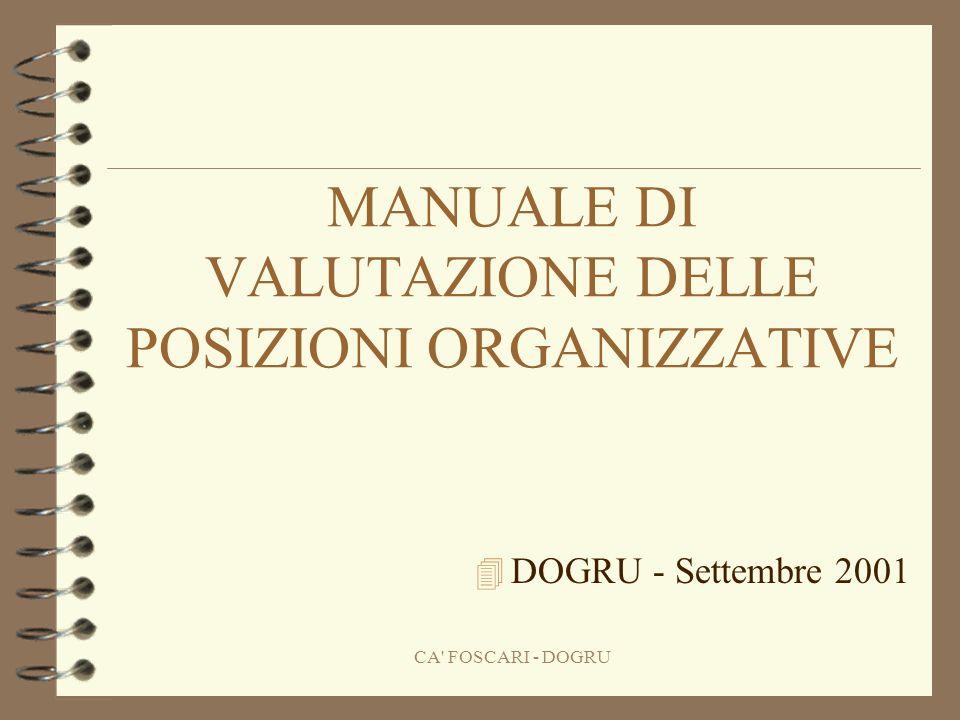 CA FOSCARI - DOGRU MANUALE DI VALUTAZIONE DELLE POSIZIONI ORGANIZZATIVE 4 DOGRU - Settembre 2001