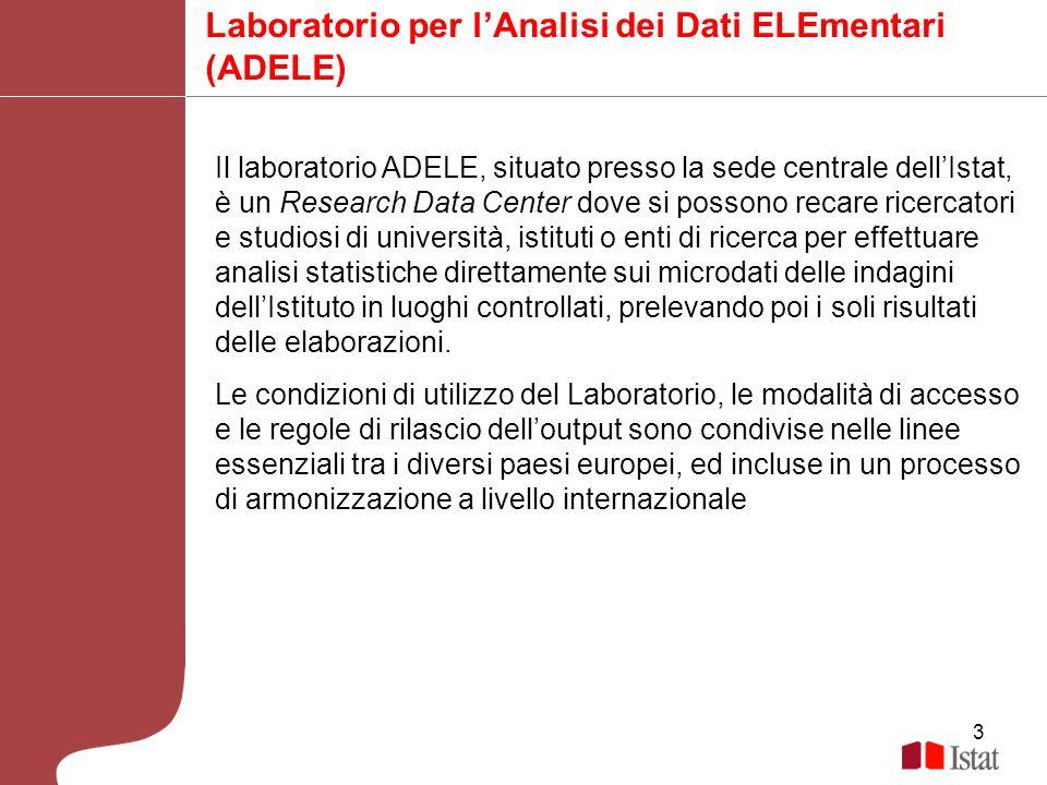 3 Laboratorio per lAnalisi dei Dati ELEmentari (ADELE) Il laboratorio ADELE, situato presso la sede centrale dellIstat, è un Research Data Center dove