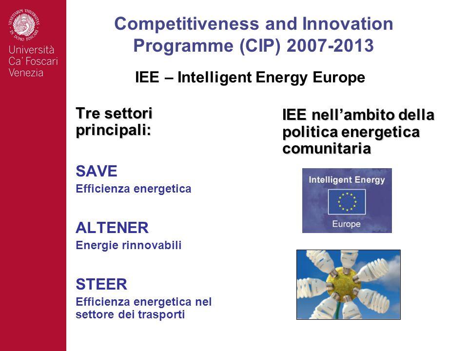 Tre settori principali: SAVE Efficienza energetica ALTENER Energie rinnovabili STEER Efficienza energetica nel settore dei trasporti IEE nellambito della politica energetica comunitaria Competitiveness and Innovation Programme (CIP) 2007-2013 IEE – Intelligent Energy Europe