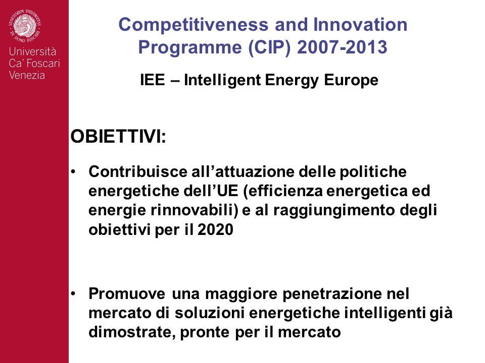 OBIETTIVI: Contribuisce allattuazione delle politiche energetiche dellUE (efficienza energetica ed energie rinnovabili) e al raggiungimento degli obiettivi per il 2020 Promuove una maggiore penetrazione nel mercato di soluzioni energetiche intelligenti già dimostrate, pronte per il mercato Competitiveness and Innovation Programme (CIP) 2007-2013 IEE – Intelligent Energy Europe