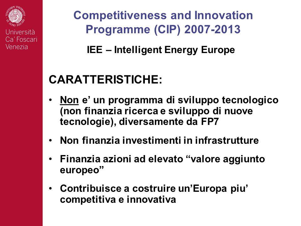 CARATTERISTICHE: Non e un programma di sviluppo tecnologico (non finanzia ricerca e sviluppo di nuove tecnologie), diversamente da FP7 Non finanzia investimenti in infrastrutture Finanzia azioni ad elevato valore aggiunto europeo Contribuisce a costruire unEuropa piu competitiva e innovativa Competitiveness and Innovation Programme (CIP) 2007-2013 IEE – Intelligent Energy Europe