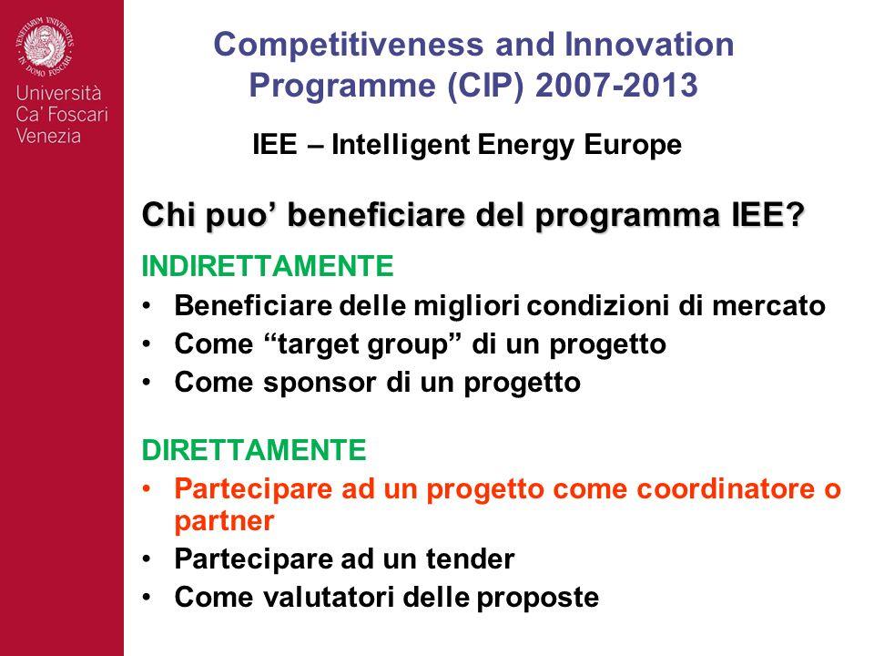 Chi puo beneficiare del programma IEE? INDIRETTAMENTE Beneficiare delle migliori condizioni di mercato Come target group di un progetto Come sponsor d