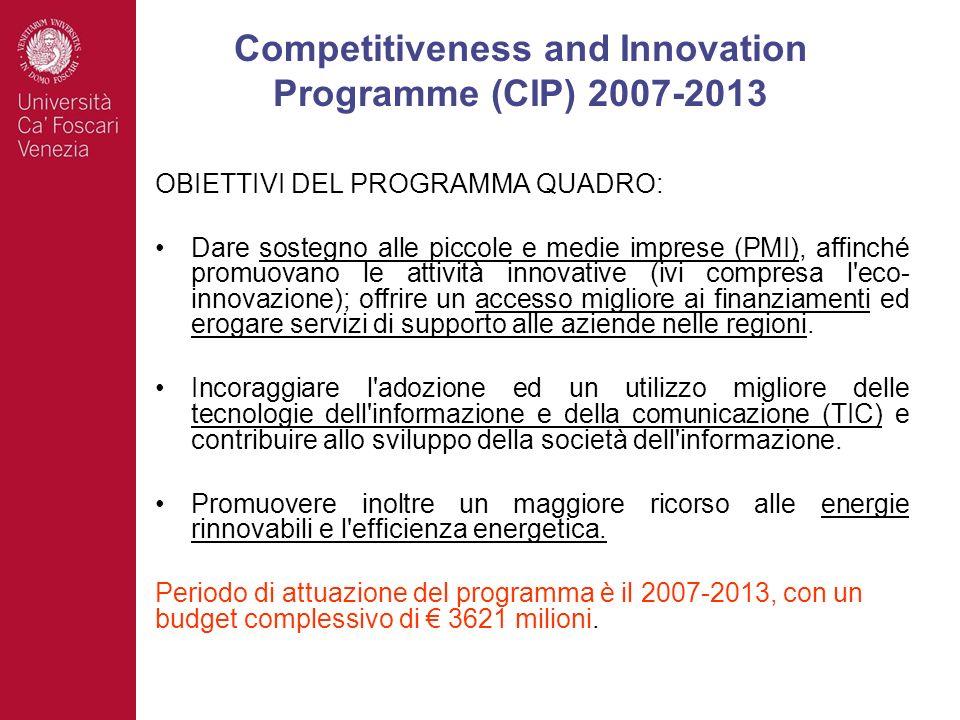 OBIETTIVI DEL PROGRAMMA QUADRO: Dare sostegno alle piccole e medie imprese (PMI), affinché promuovano le attività innovative (ivi compresa l'eco- inno