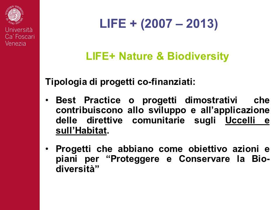 LIFE+ Nature & Biodiversity Tipologia di progetti co-finanziati: Best Practice o progetti dimostrativi che contribuiscono allo sviluppo e allapplicazione delle direttive comunitarie sugli Uccelli e sullHabitat.