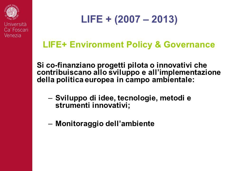 LIFE+ Environment Policy & Governance Si co-finanziano progetti pilota o innovativi che contribuiscano allo sviluppo e allimplementazione della politica europea in campo ambientale: –Sviluppo di idee, tecnologie, metodi e strumenti innovativi; –Monitoraggio dellambiente LIFE + (2007 – 2013)