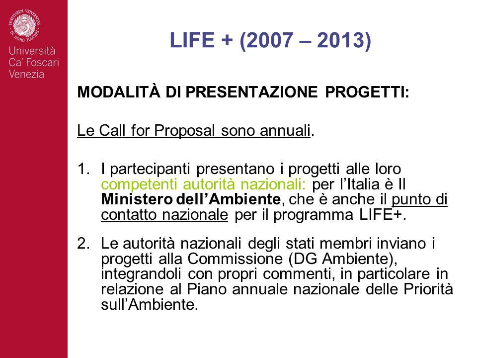 MODALITÀ DI PRESENTAZIONE PROGETTI: Le Call for Proposal sono annuali. 1.I partecipanti presentano i progetti alle loro competenti autorità nazionali: