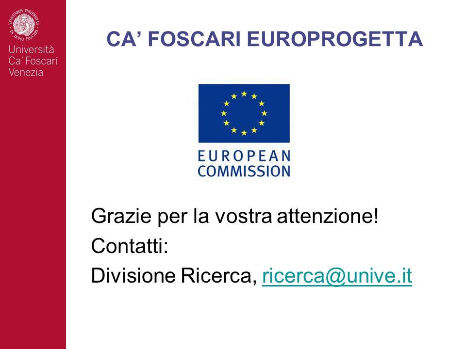 Grazie per la vostra attenzione! Contatti: Divisione Ricerca, ricerca@unive.itricerca@unive.it CA FOSCARI EUROPROGETTA