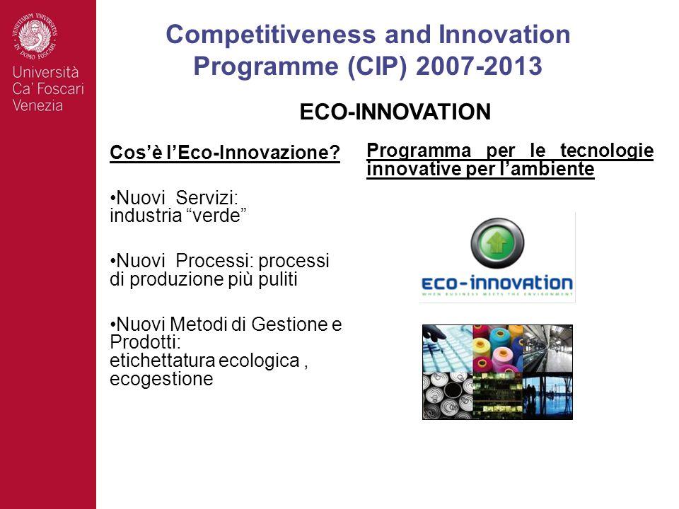 Cosè lEco-Innovazione? Nuovi Servizi: industria verde Nuovi Processi: processi di produzione più puliti Nuovi Metodi di Gestione e Prodotti: etichetta