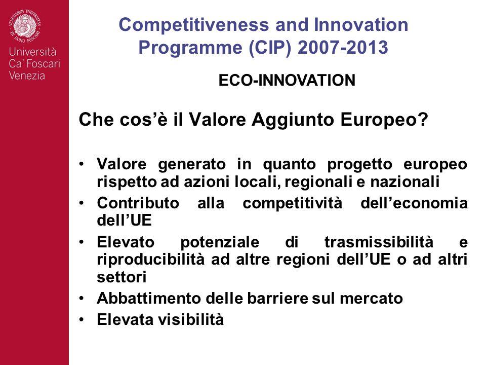 Che cosè il Valore Aggiunto Europeo? Valore generato in quanto progetto europeo rispetto ad azioni locali, regionali e nazionali Contributo alla compe
