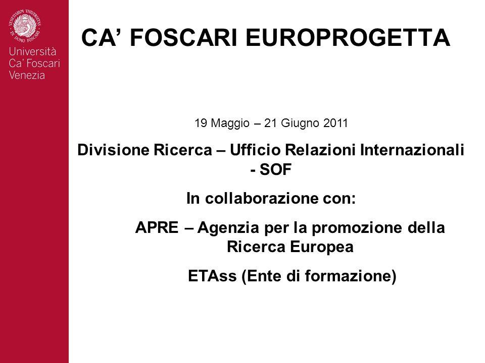 19 Maggio – 21 Giugno 2011 Divisione Ricerca – Ufficio Relazioni Internazionali - SOF In collaborazione con: APRE – Agenzia per la promozione della Ricerca Europea ETAss (Ente di formazione) CA FOSCARI EUROPROGETTA