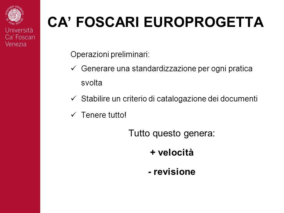 Operazioni preliminari: Generare una standardizzazione per ogni pratica svolta Stabilire un criterio di catalogazione dei documenti Tenere tutto.