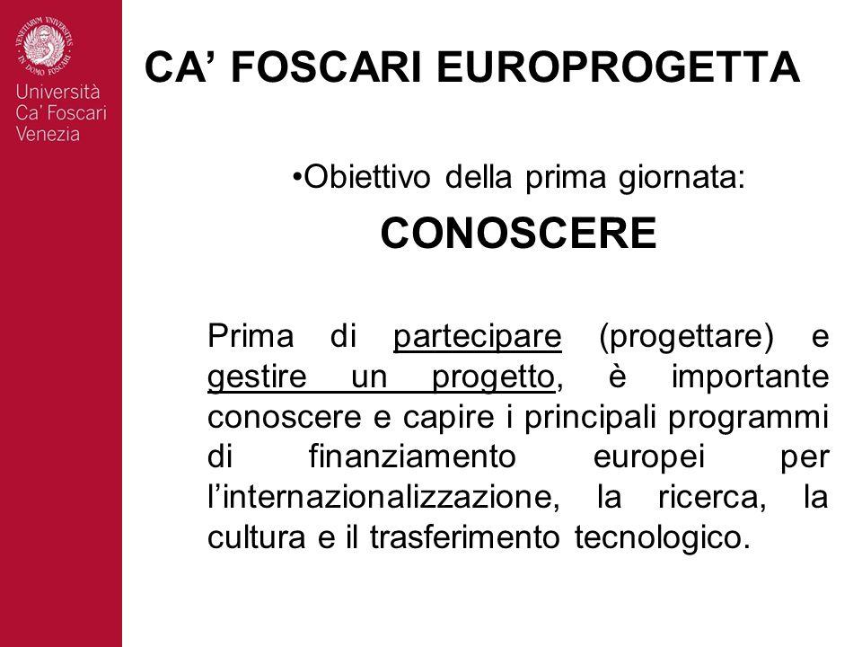 Obiettivo della prima giornata: CONOSCERE Prima di partecipare (progettare) e gestire un progetto, è importante conoscere e capire i principali programmi di finanziamento europei per linternazionalizzazione, la ricerca, la cultura e il trasferimento tecnologico.