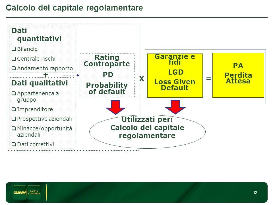 12 Calcolo del capitale regolamentare Dati quantitativi Bilancio Centrale rischi Andamento rapporto Dati qualitativi Appartenenza a gruppo Imprenditor