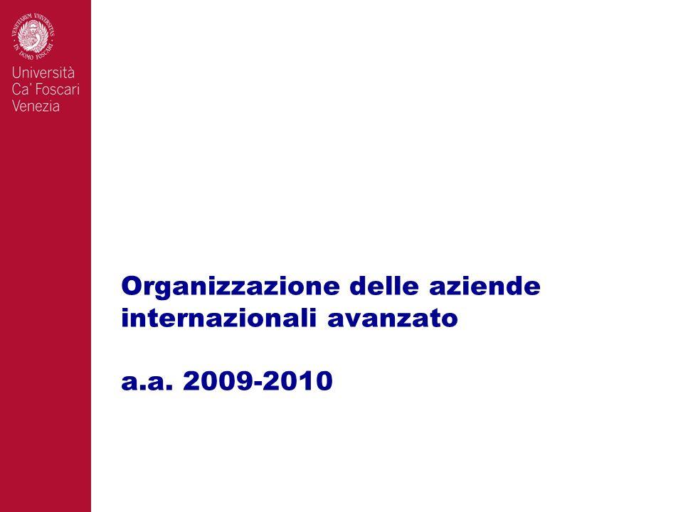 Organizzazione delle aziende internazionali avanzato a.a. 2009-2010