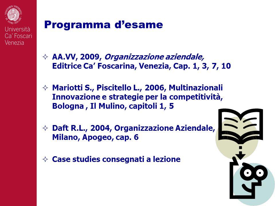 Programma desame 6 AA.VV, 2009, Organizzazione aziendale, Editrice Ca Foscarina, Venezia, Cap.