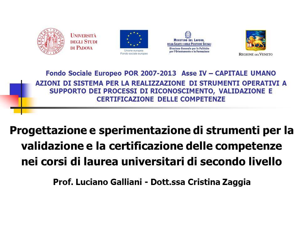 Fondo Sociale Europeo POR 2007-2013 Asse IV – CAPITALE UMANO AZIONI DI SISTEMA PER LA REALIZZAZIONE DI STRUMENTI OPERATIVI A SUPPORTO DEI PROCESSI DI RICONOSCIMENTO, VALIDAZIONE E CERTIFICAZIONE DELLE COMPETENZE Progettazione e sperimentazione di strumenti per la validazione e la certificazione delle competenze nei corsi di laurea universitari di secondo livello Prof.