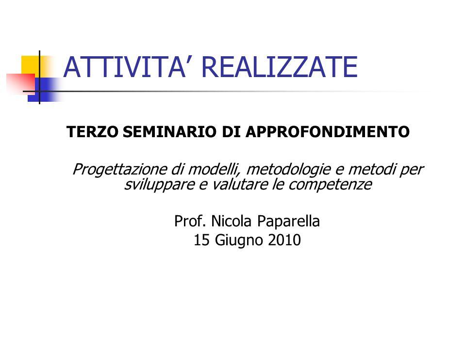 ATTIVITA REALIZZATE TERZO SEMINARIO DI APPROFONDIMENTO Progettazione di modelli, metodologie e metodi per sviluppare e valutare le competenze Prof.