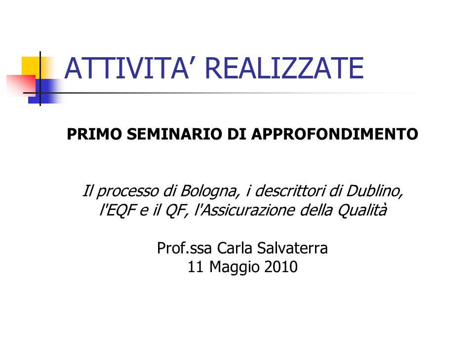 ATTIVITA REALIZZATE PRIMO SEMINARIO DI APPROFONDIMENTO Il processo di Bologna, i descrittori di Dublino, l EQF e il QF, l Assicurazione della Qualità Prof.ssa Carla Salvaterra 11 Maggio 2010