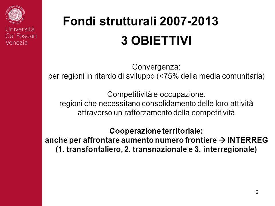 2 Fondi strutturali 2007-2013 3 OBIETTIVI Convergenza: per regioni in ritardo di sviluppo (<75% della media comunitaria) Competitività e occupazione: regioni che necessitano consolidamento delle loro attività attraverso un rafforzamento della competitività Cooperazione territoriale: anche per affrontare aumento numero frontiere INTERREG (1.