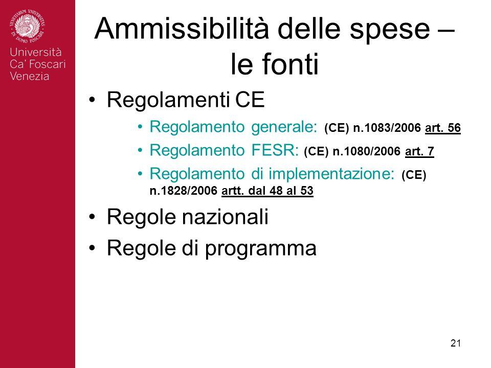 21 Ammissibilità delle spese – le fonti Regolamenti CE Regolamento generale: (CE) n.1083/2006 art.