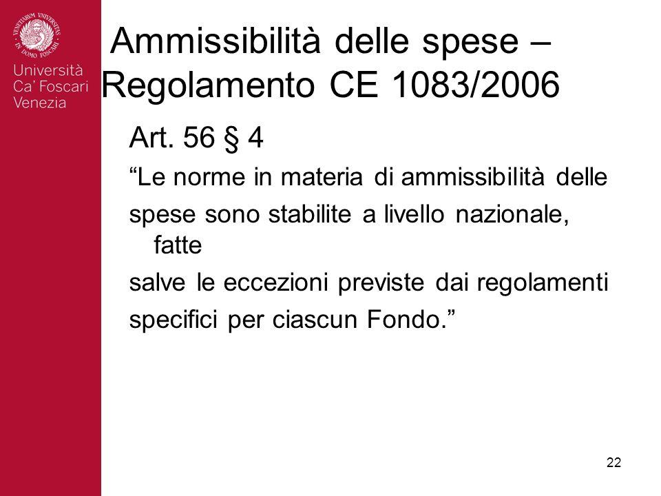 22 Ammissibilità delle spese – Regolamento CE 1083/2006 Art.