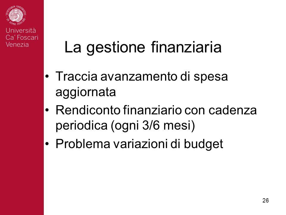 26 La gestione finanziaria Traccia avanzamento di spesa aggiornata Rendiconto finanziario con cadenza periodica (ogni 3/6 mesi) Problema variazioni di budget