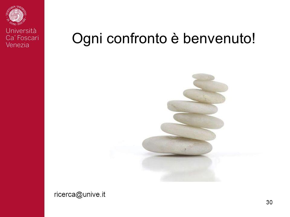 30 Ogni confronto è benvenuto! ricerca@unive.it