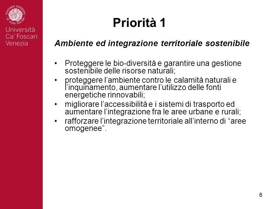 6 Priorità 1 Ambiente ed integrazione territoriale sostenibile Proteggere le bio-diversità e garantire una gestione sostenibile delle risorse naturali; proteggere lambiente contro le calamità naturali e linquinamento, aumentare lutilizzo delle fonti energetiche rinnovabili; migliorare laccessibilità e i sistemi di trasporto ed aumentare lintegrazione fra le aree urbane e rurali; rafforzare lintegrazione territoriale allinterno di aree omogenee.