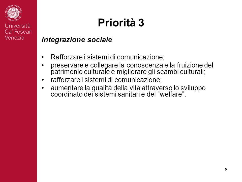 8 Priorità 3 Integrazione sociale Rafforzare i sistemi di comunicazione; preservare e collegare la conoscenza e la fruizione del patrimonio culturale e migliorare gli scambi culturali; rafforzare i sistemi di comunicazione; aumentare la qualità della vita attraverso lo sviluppo coordinato dei sistemi sanitari e del welfare.