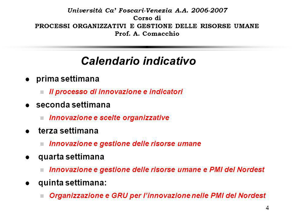 4 Calendario indicativo Università Ca Foscari-Venezia A.A.