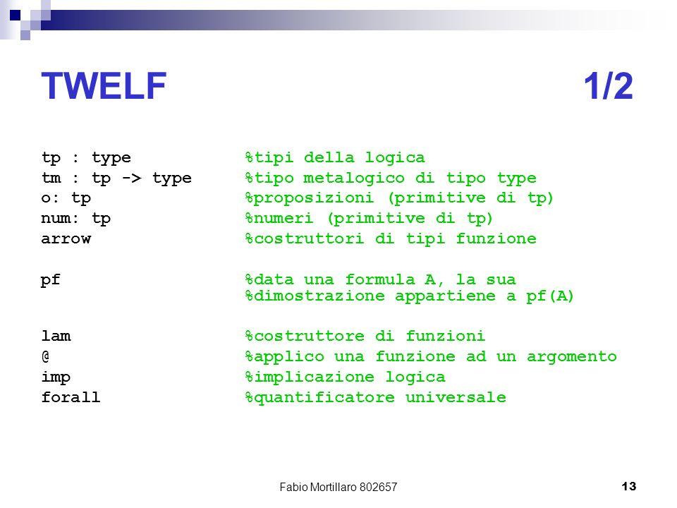 Fabio Mortillaro 80265713 TWELF1/2 tp : type%tipi della logica tm : tp -> type%tipo metalogico di tipo type o: tp%proposizioni (primitive di tp) num: tp%numeri (primitive di tp) arrow%costruttori di tipi funzione pf%data una formula A, la sua %dimostrazione appartiene a pf(A) lam%costruttore di funzioni @%applico una funzione ad un argomento imp%implicazione logica forall%quantificatore universale