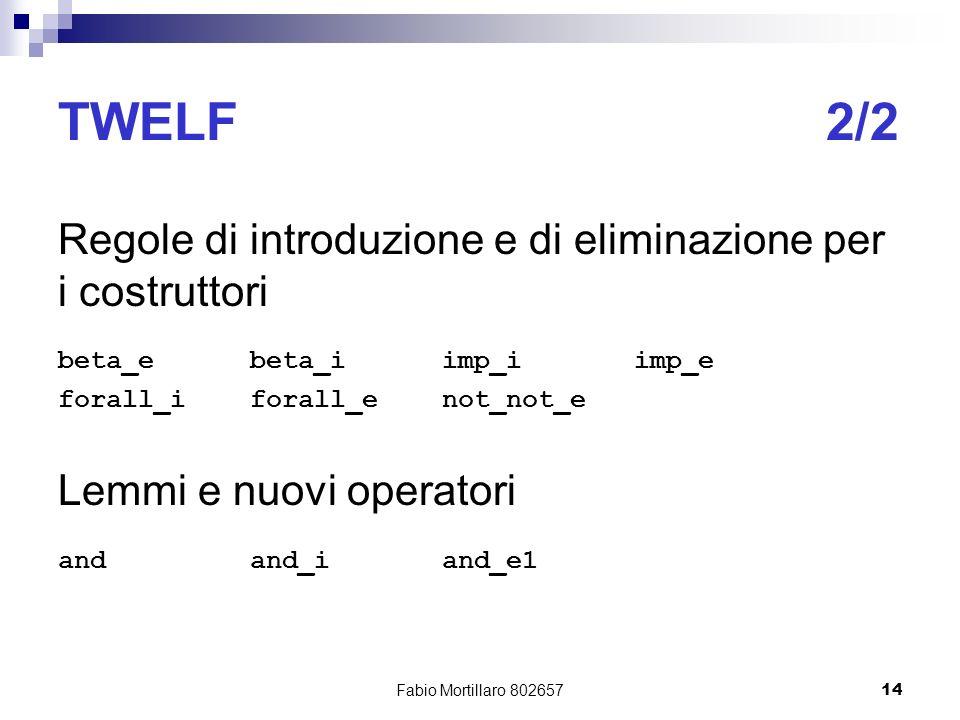 Fabio Mortillaro 80265714 TWELF2/2 Regole di introduzione e di eliminazione per i costruttori beta_ebeta_iimp_iimp_e forall_iforall_enot_not_e Lemmi e nuovi operatori andand_iand_e1