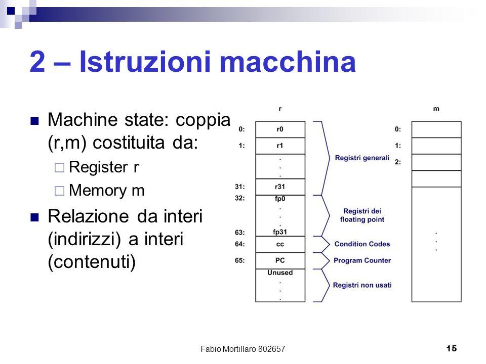Fabio Mortillaro 80265715 2 – Istruzioni macchina Machine state: coppia (r,m) costituita da: Register r Memory m Relazione da interi (indirizzi) a interi (contenuti)