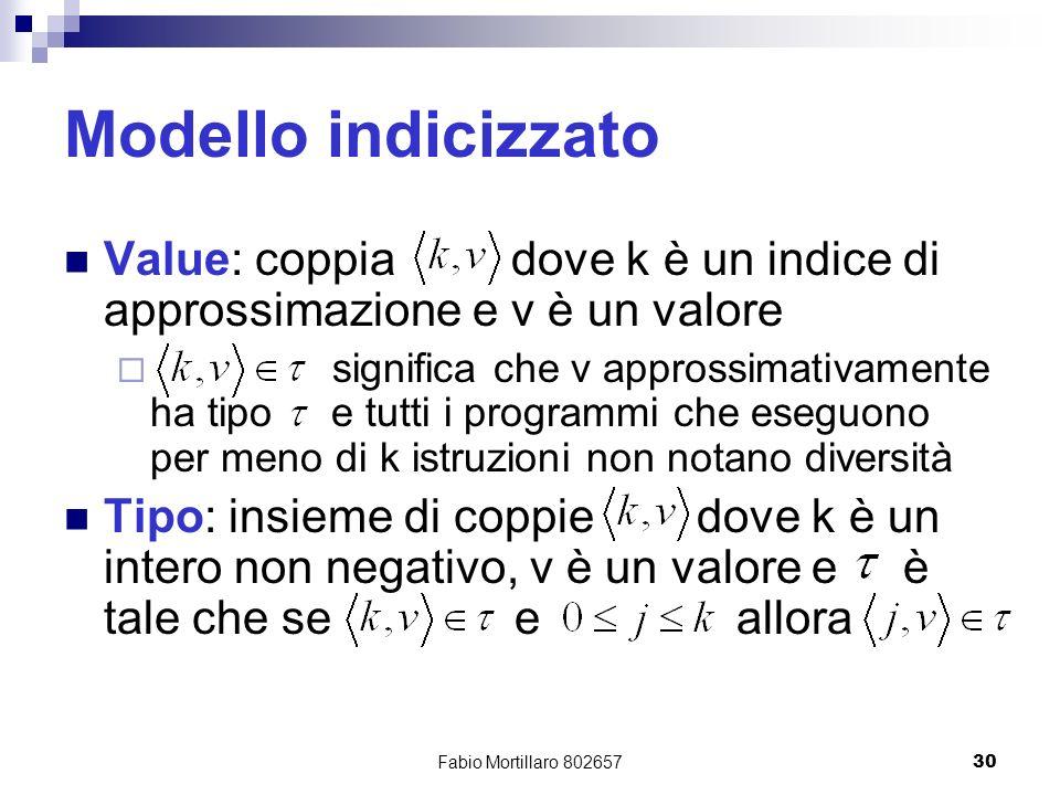 Fabio Mortillaro 80265730 Modello indicizzato Value: coppia dove k è un indice di approssimazione e v è un valore significa che v approssimativamente ha tipo e tutti i programmi che eseguono per meno di k istruzioni non notano diversità Tipo: insieme di coppie dove k è un intero non negativo, v è un valore e è tale che se e allora