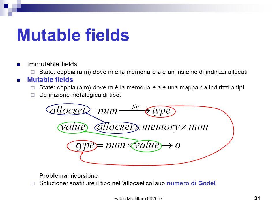Fabio Mortillaro 80265731 Mutable fields Immutable fields State: coppia (a,m) dove m è la memoria e a è un insieme di indirizzi allocati Mutable fields State: coppia (a,m) dove m è la memoria e a è una mappa da indirizzi a tipi Definizione metalogica di tipo: Problema: ricorsione Soluzione: sostituire il tipo nellallocset col suo numero di Godel