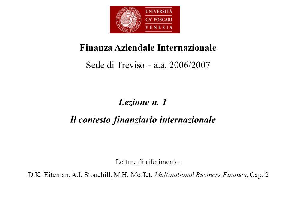 Lezione n. 1 Il contesto finanziario internazionale Finanza Aziendale Internazionale Sede di Treviso - a.a. 2006/2007 Letture di riferimento: D.K. Eit