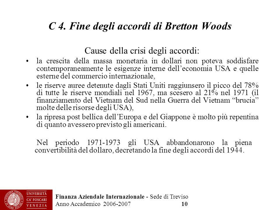 Finanza Aziendale Internazionale - Sede di Treviso Anno Accademico 2006-2007 10 C 4. Fine degli accordi di Bretton Woods Cause della crisi degli accor