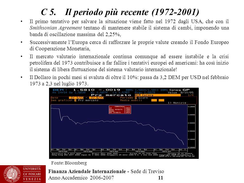 Finanza Aziendale Internazionale - Sede di Treviso Anno Accademico 2006-2007 11 C 5. Il periodo più recente (1972-2001) Il primo tentativo per salvare